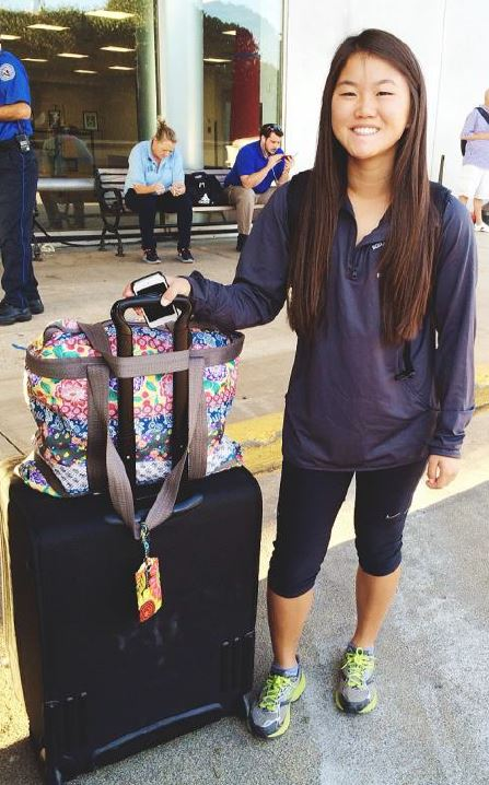 SYA China Summer student in airport with luggage