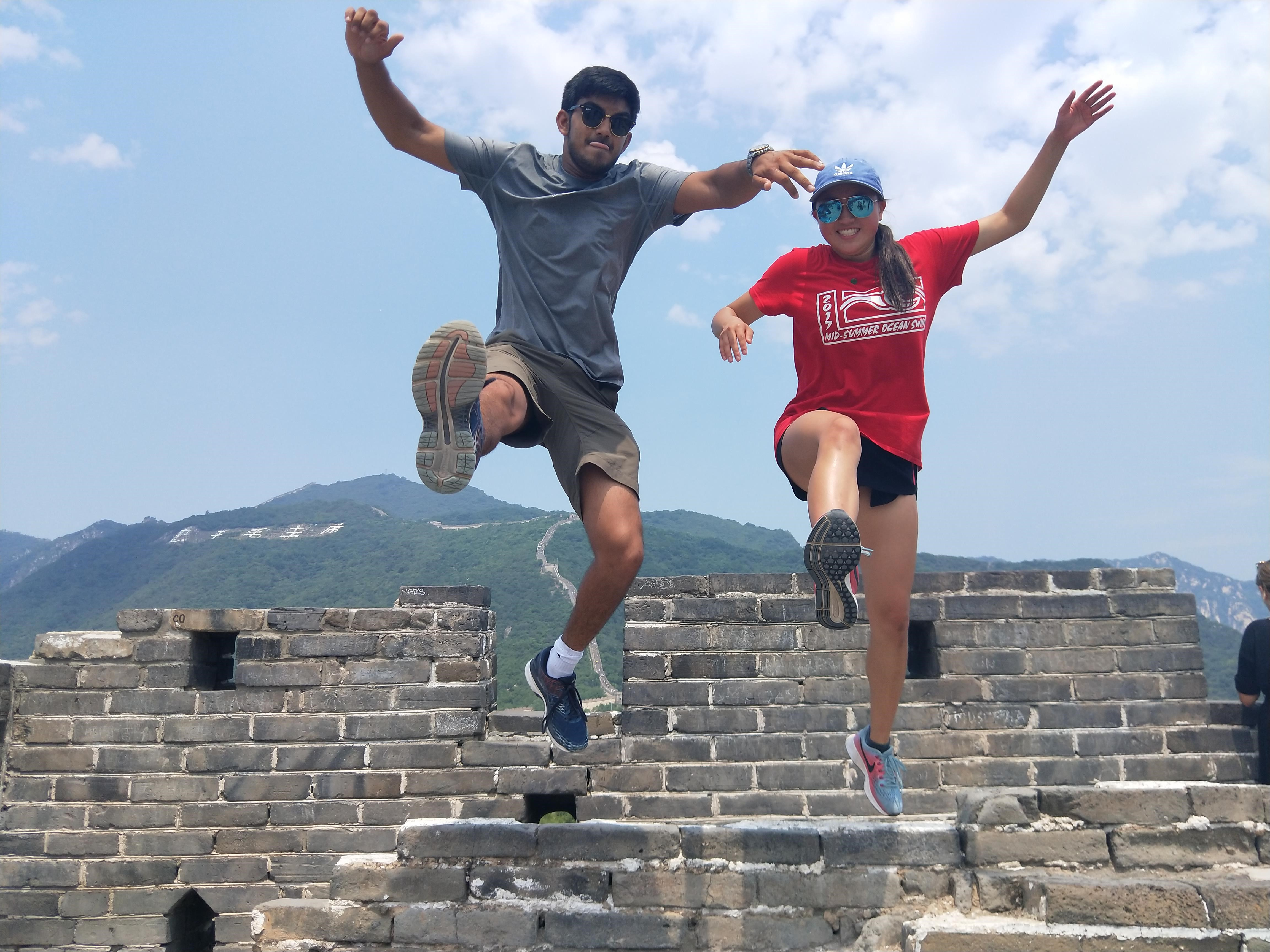 Adventurous SYA China summer students jumping in air